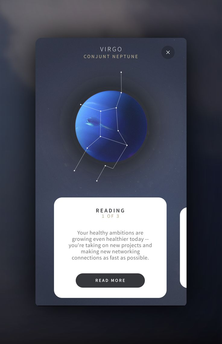 Here's some more screens from an astrology app I'm working on. I'll post some more motion work tomorrow.  Make sure to check out the full resolution shots attached.  Made with Handsome
