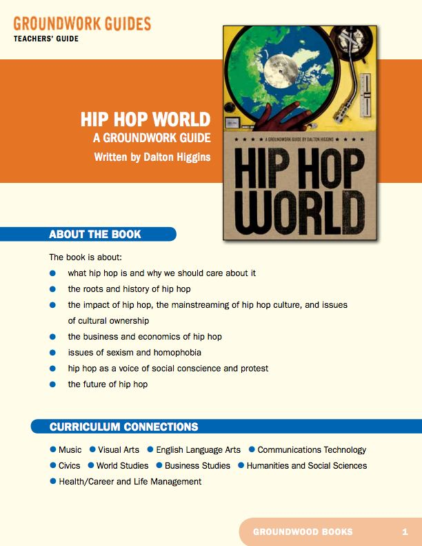 Teachers' Guide for A Groundwork Guide to Hip Hop. Hip hop is arguably the predominant global youth subculture of this generation. In this book Dalton Higgins takes vivid snapshots of the hip hop scenes in Europe, North America, Asia, Africa and more.