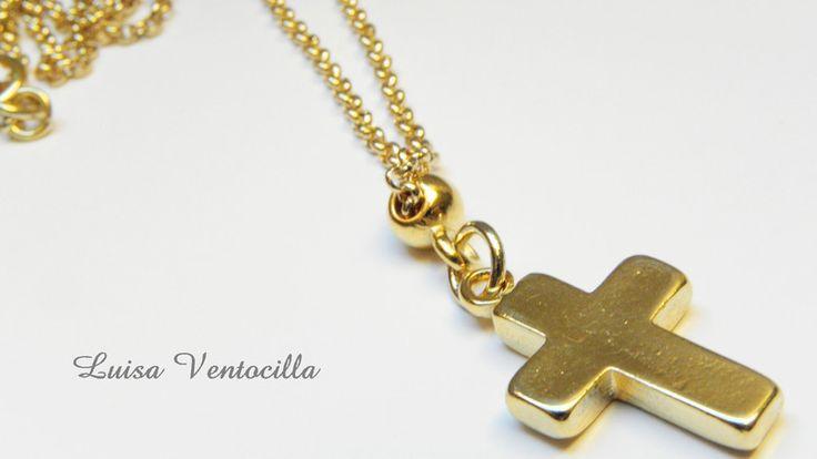 Schöne zarte vergoldete Halskette mit Kreuz von Luisa Ventocilla Shop auf DaWanda.com