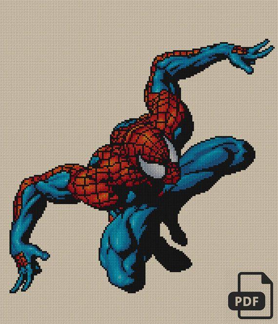 Spider-Man Cross Stitch Pattern INSTANT DOWNLOAD par DeepKaplio   Point de croix, Modèles de ...