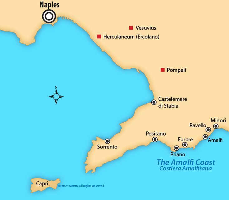 Amalfi Coast map and guide to towns and transportation