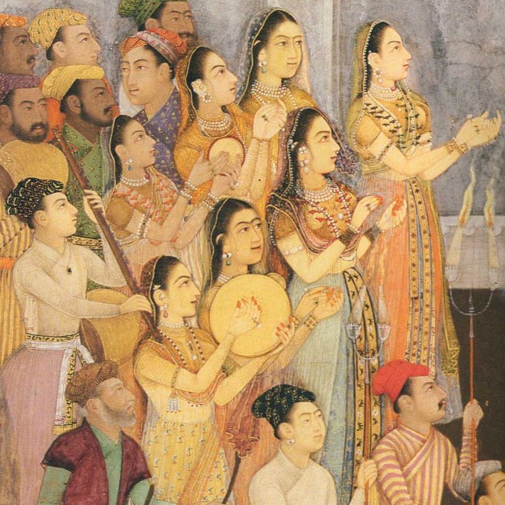 Indian Miniature, Female musicians Wedding of Aurangzeb