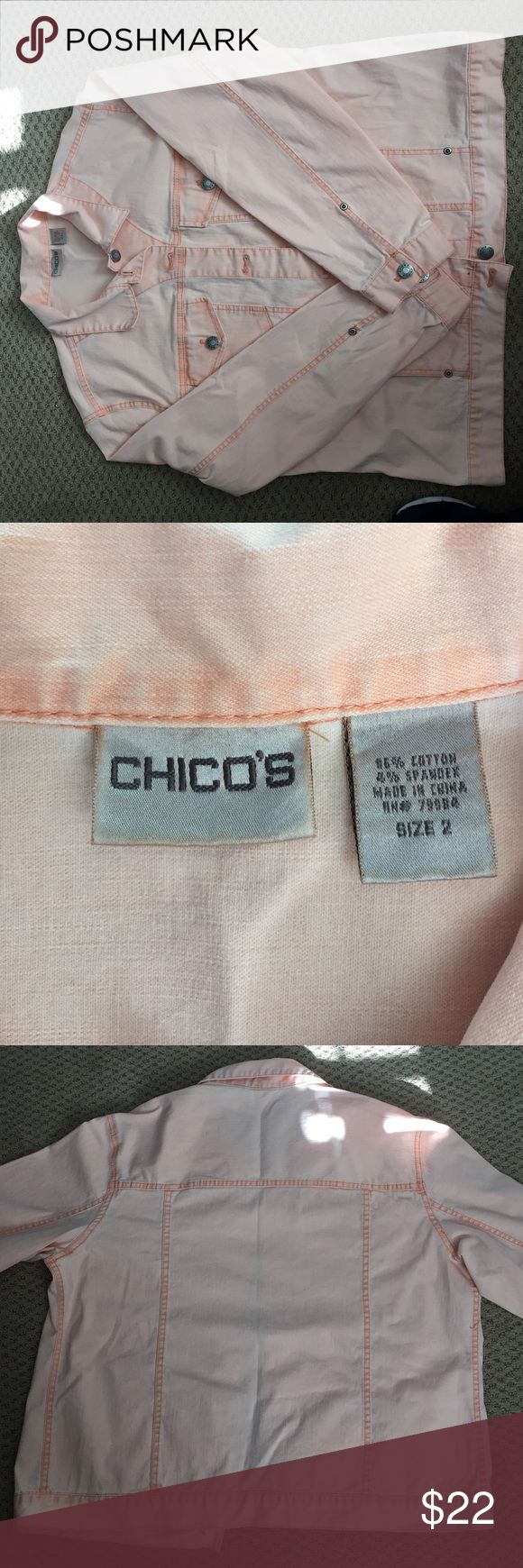 "Chico's jean jacket Chico's size 2 peach jean jacket. Length is approximately 22"" and armpit to armpit is 22.5"". Matching pants free. Chico's Jackets & Coats Jean Jackets"