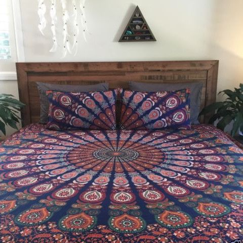 Bohemian Ombre Indian King Size Bedding 3 Piece Set Mandala Boho King Bedspreads Tapestry and 2 Pillow Cases - Free Shipping from eRummagers