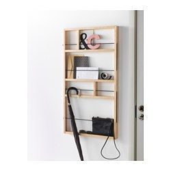 IKEA - YPPERLIG, Wall shelf, A small and decorative storage solution that you can hang behind a door or in another narrow space.Perfect if you want to make a wall collage with your small keepsakes.Everything is kept in place thanks to the elastic straps.Solid birch is a durable natural material.