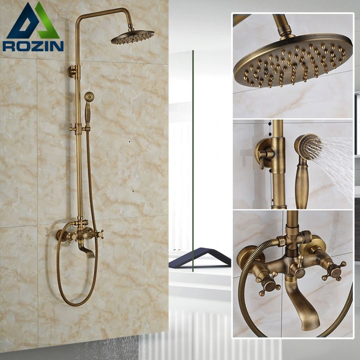 "$94.20 | Buy Euro Style Antique Bath Shower Faucet Kit Wall Mount Antique 8"" Rainfall Shower Head Tub Filler Bath Shower Mixer Tap  from Reliable shower mixer tap suppliers on rozin Official Store"