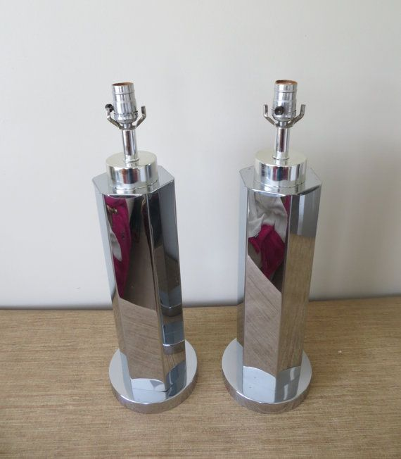Mid Century Modern Tall Chrome Table Lamps By Soulfulvintage