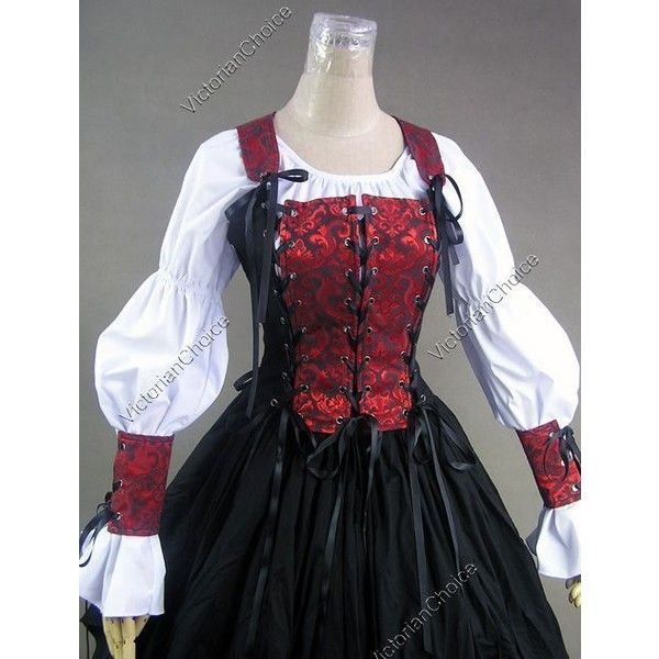 Renaissance Pirate Wench Costume Dress Ball Gown 140 S ❤ liked on Polyvore featuring costumes, renaissance halloween costumes, lady pirate costume, pirate vixen costume, pirate maiden costume and renaissance costume
