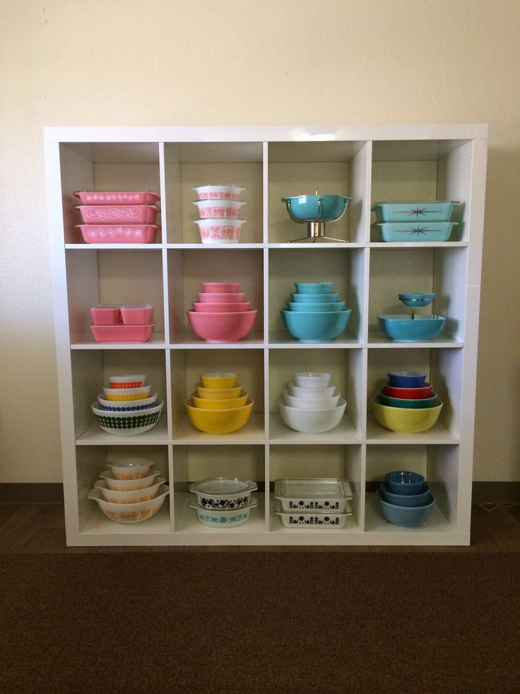Pyrex display on IKEA Expedit Shelf