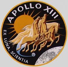 "Apollo 13 mission patch - ""Houston, we have a problem""  Astronauts James A. Lovell, Jr., Fred W. Haise, Jr., and John L. Swigert, Jr. launched on April 11, 1970."
