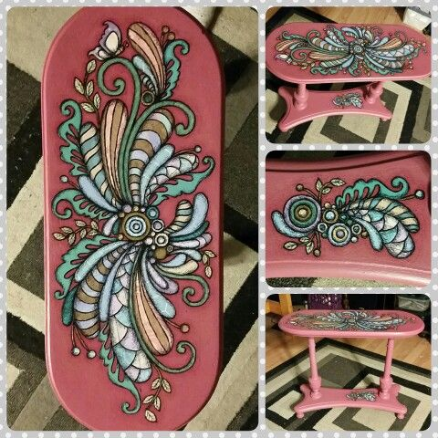 Refurbished antique table  Paper and acrylic paint  http://www.facebook.com/loveandtheart