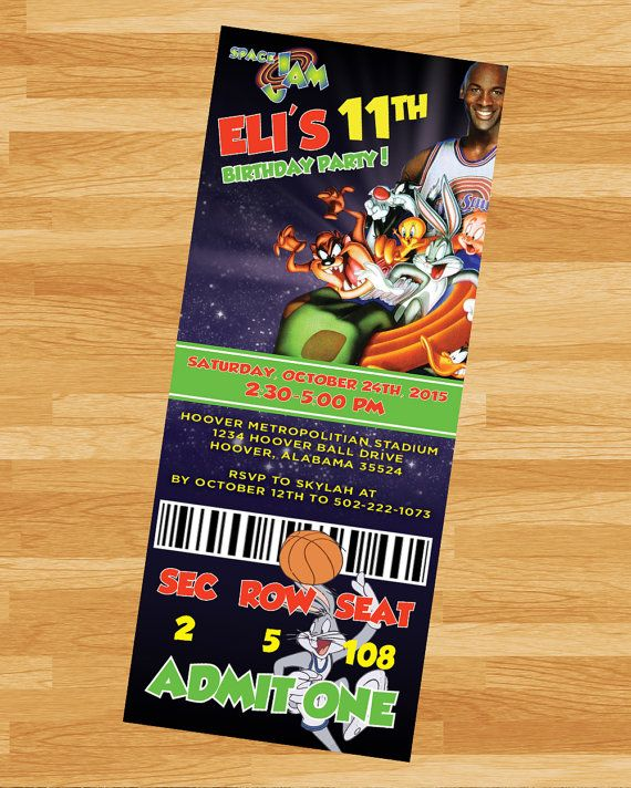 PRINTABLE Space Jam Invitation  LoonyToons by NoteworthyCreative