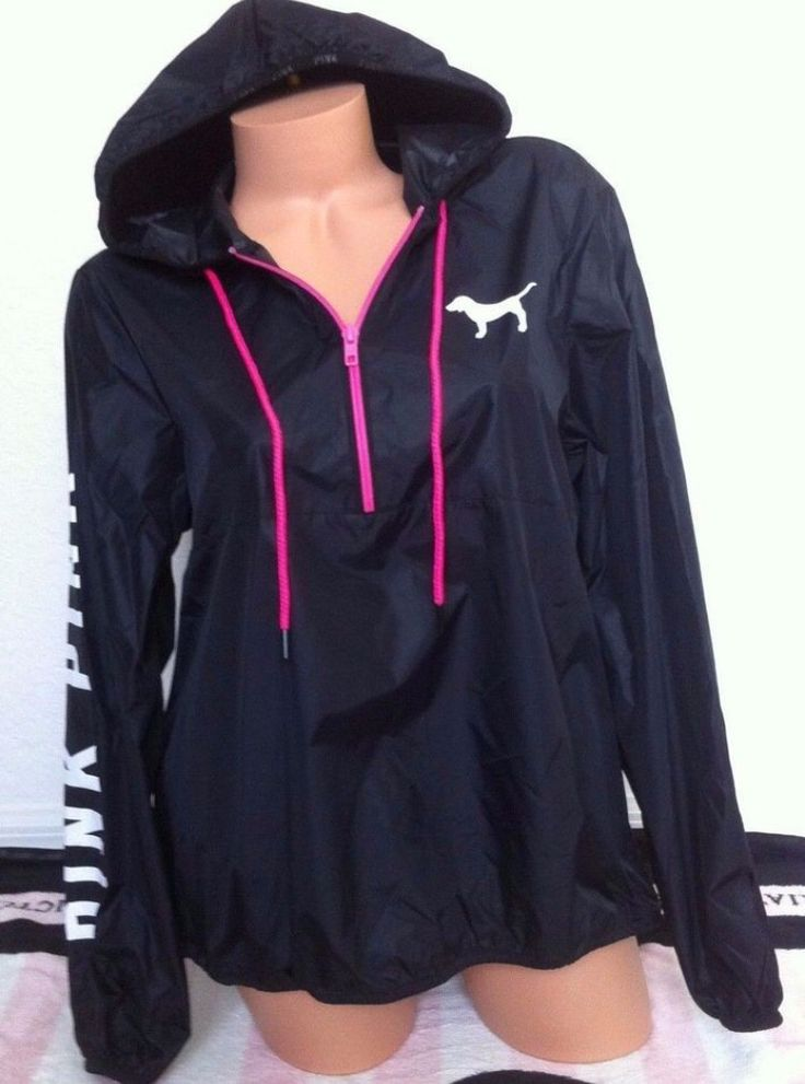 Victoria's Secret Pink Black Pink White Anorak Half Zip Windbreaker Jacket