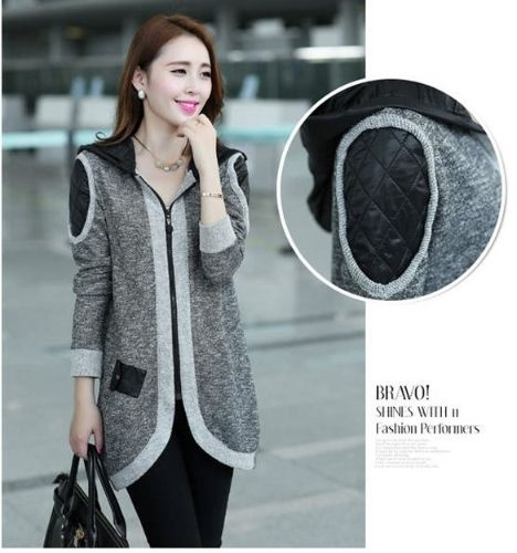 (22.97$)  Watch more here  - Fashion Women's Long Sleeve Open Zipper Casual Patch Decorate Knitted Sweater Wool Top Trench Coat Jacket Outwear Cardigan Waistcoat