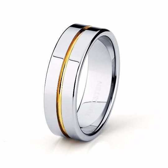 Tungsten Ring Yellow Gold Wedding Band Ring High Polished Man Tungsten Carbide 8mm 18K Tungsten Ring Mens Wedding Band Male Women Anniversary Promise Two Tone