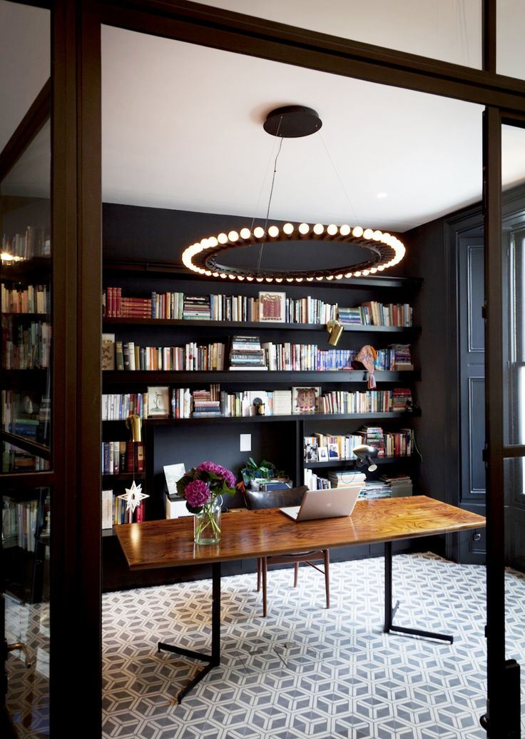 Modern library in a London home