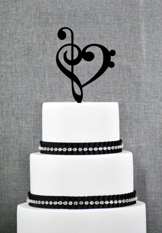 Treble Bass Clef Heart Wedding Cake Topper, Music Heart Wedding Cake Topper, Music Wedding, Custom Colors- (S065)