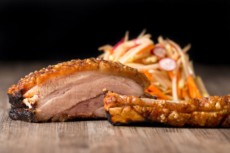 Roasted Chinese Pork Belly with a blackened crust if sugar, Chinese five spice and lashings of Szechuan Pepper all topped with a perfect Crackling crust