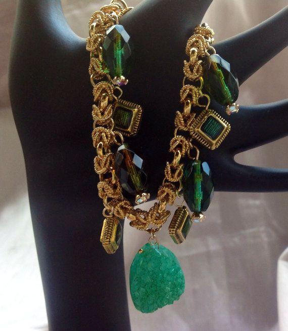 Drusy Charm BraceletCzech Beads gold encased by JewelryByShari, $129.00