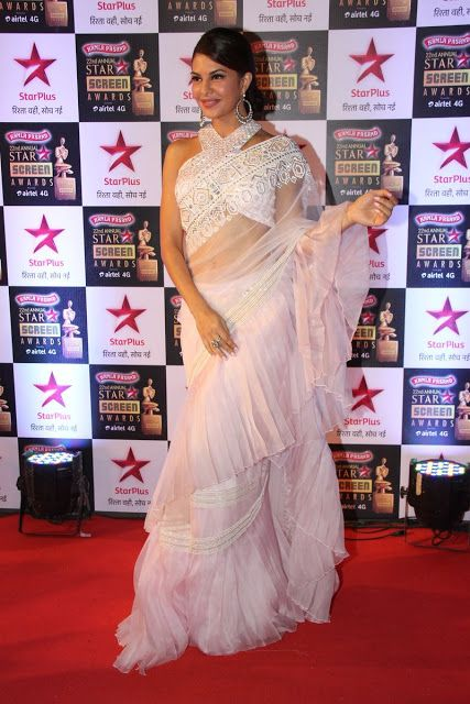 Jacqueline Fernandez in Pleated Ruffle Design Saree at Star Screen Awards 2016