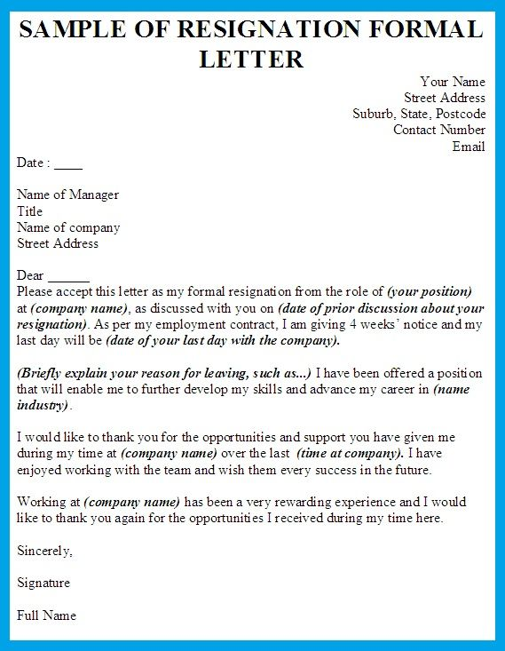 Formal Resignation Letter Example Model Of Resignation Letter