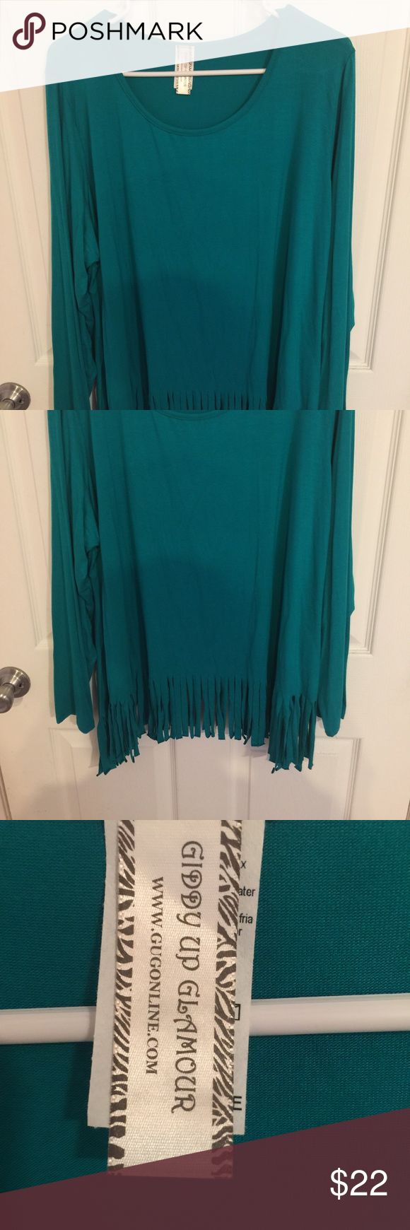 """BNWT!! Turquoise Fringe Top!! BNWT!!! Beautiful Turquoise color!  Stylish fringe detailing at the bottom.  Ordered from the online boutique """"Giddy up Glamour"""".  Size 3X, which is a 16-18 at their boutique! Giddy Up Glamour  Tops Tunics"""