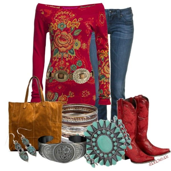 """""""Cowgirl in Red"""" by dixi3chik on Polyvore LOVE!"""