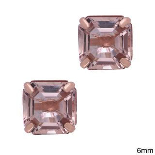 Gioelli 14k Rose Gold Asscher-cut Simulated Morganite Stud Earrings