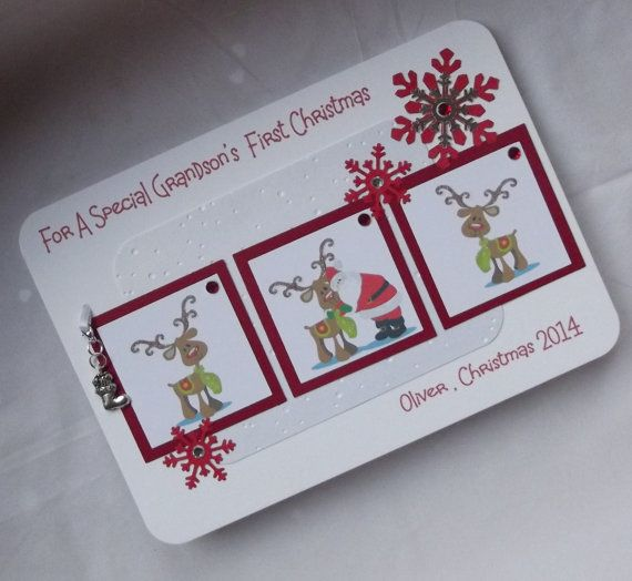 Handmade personalised Baby's First Christmas by JansCardsAndCrafts