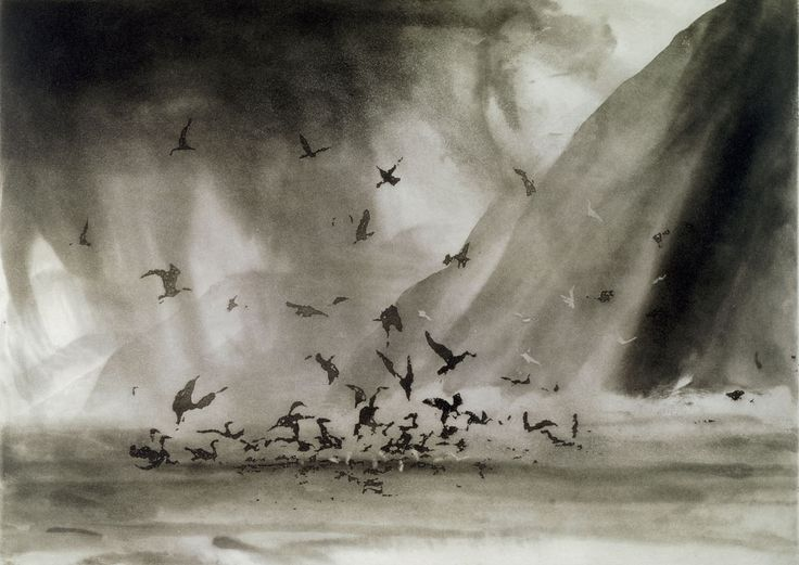 Morning Rain, Great Blasket by Norman Ackroyd (2004) #art #seascape #contemporaryart #print