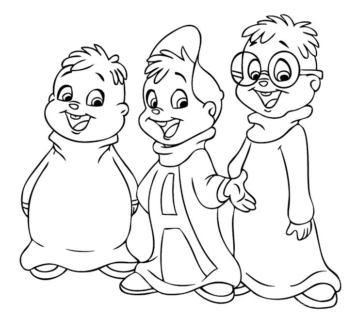 Chipmunks coloring pages for kids printable free