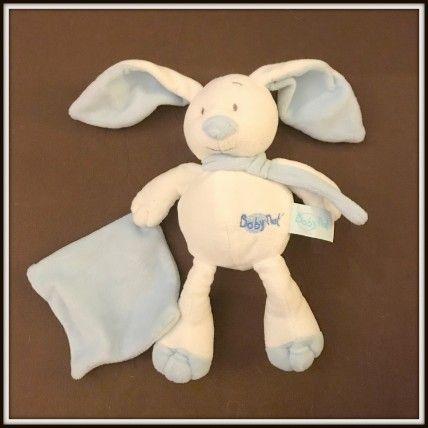 Baby Nat Lapin Blanc Mouchoir Bleu