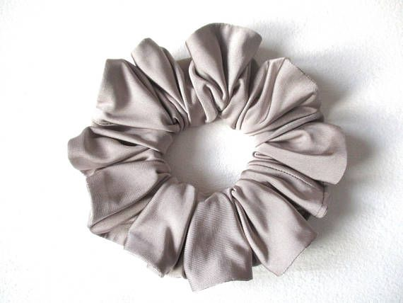 gray shiny soft slip jersey scrunchie for long hair, grey gym accessory for women girl, handmade gift for her, large scrunchy, 80s 90s