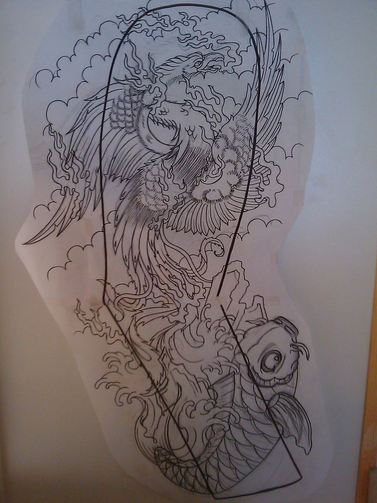Japanese Phoenix full sleeve by ~Dude-Skinz-Tattooing on deviantART Phoenix and a koi!?!? I want them both-full color!!!