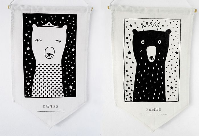 Banderines oso y osa serigrafiados a mano / hand made screen printed bear pennant