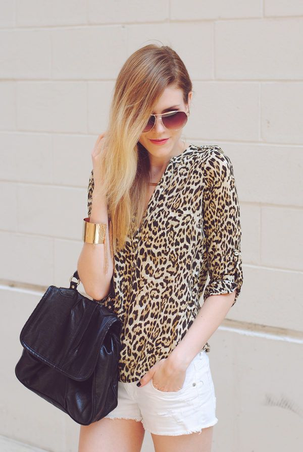 Cat Attire. ( Animal Print Shirts & Blouses & Shorts ) with. Sleeves just below the elbow, loose construction around the waist and a gorgeous deep v-neck -- this could be good for me.
