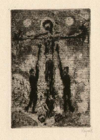 Bohuslav Reynek Kalvárie / Calvary suchá jehla / dry point 9 x 6 cm, 60. léta