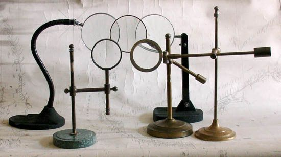 Magnifying Glasses and Lenses on Stands, Circa 1800 to present. Brass, iron, wood, etc. $250 to $1,250 each