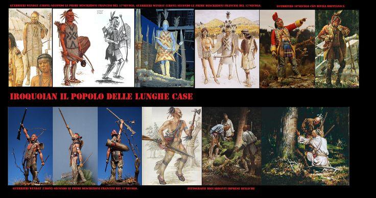 Corazze  non metalliche, realizzate con lamelle di legno o di osso, erano indossate dagli iroquoian al tempo dei primi contatti con gli europei.