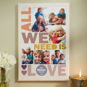 """OMG I HAVE to have this. I'm OBSESSED with this canvas print! I love the """"All We Need Is Love"""" design and colors and you can personalize it with your own photos ... what a beautiful (and affordable) piece of art for your home! Great Christmas gift idea too! I'm totally making one for my house!"""