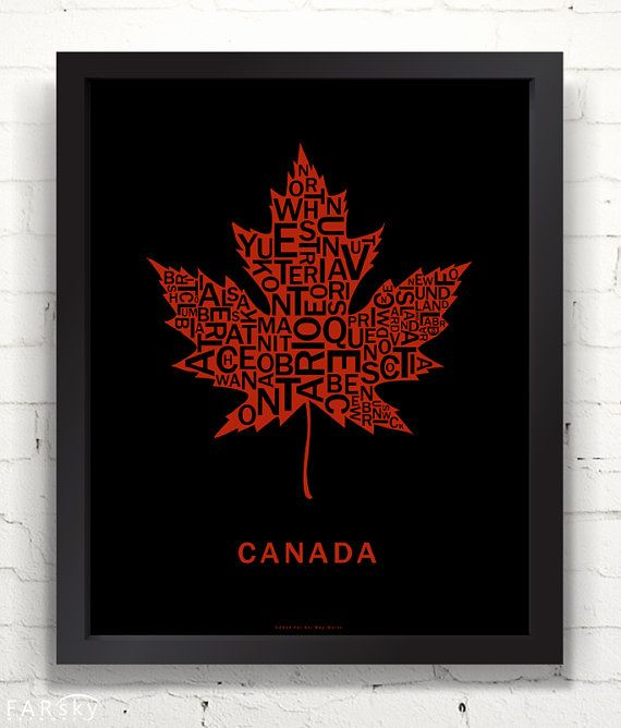 Far Sky Typographic Canadian Maple Leaf by FarSkyMapWorks on Etsy