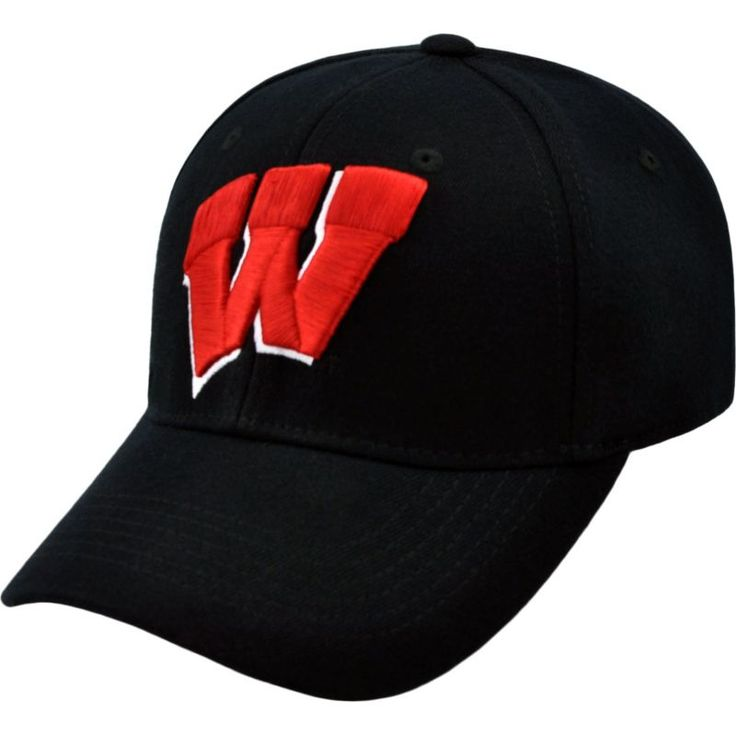 Top of the World Men's Wisconsin Badgers Black Premium Collection M-Fit Hat, Size: L/XL, Team