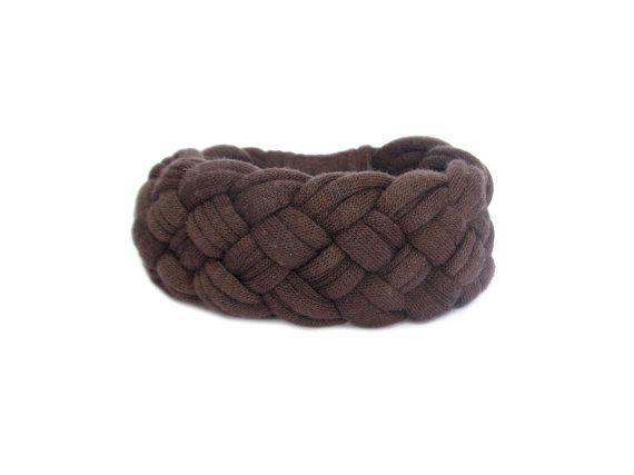 Brown Chunky Bracelet, Brown Braided T-shirt Bracelet, Fabric Brown Bracelet, Everyday Accessories, Soft Bracelet with Recycled T-shirt