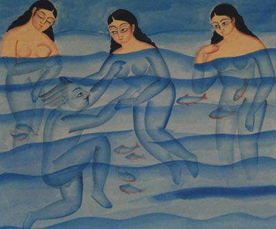 An untitled Kaligat painting by Indian artist Kalam Patua (b.1962). via Art Found Out