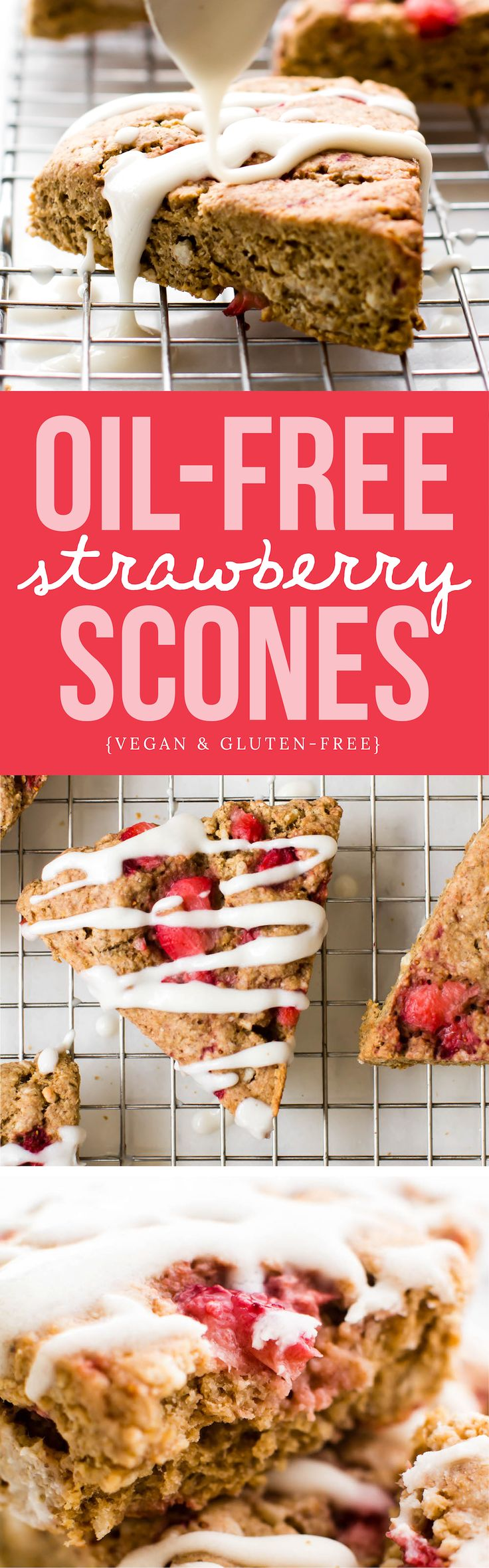 These oat flour scones are gluten-free and oil-free made with coconut butter or banana for a crumbly, subtly-sweet, baked breakfast treat!