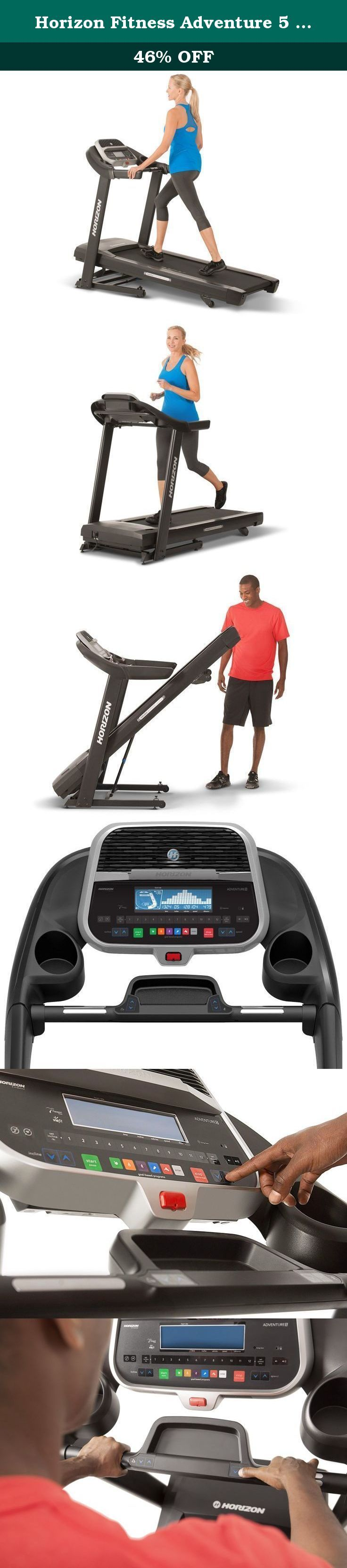 Horizon Fitness Adventure 5 Treadmill. Built for performance, the Horizon Fitness Adventure 5 has an extra-long deck, a quiet yet responsive motor and ViaFit connectivity, giving you more control over your workouts and your training progress.