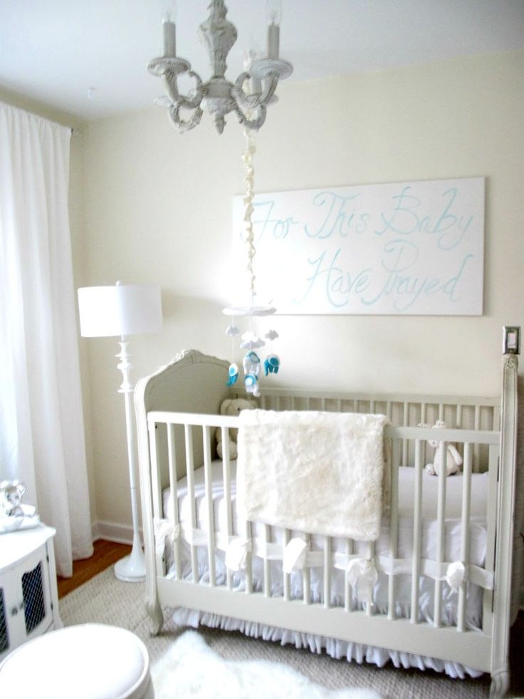 Captivating Neutral #Nursery With White Chandelier