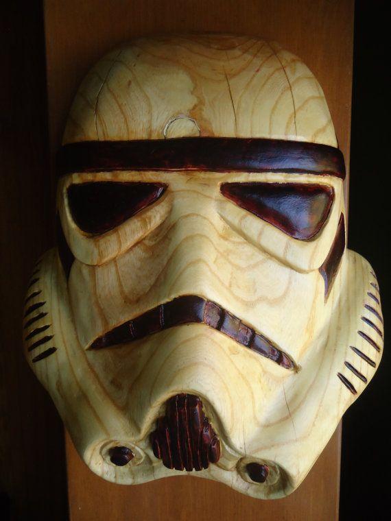 Hand carved Wooden Stormtrooper helmet - Star Wars Art ...