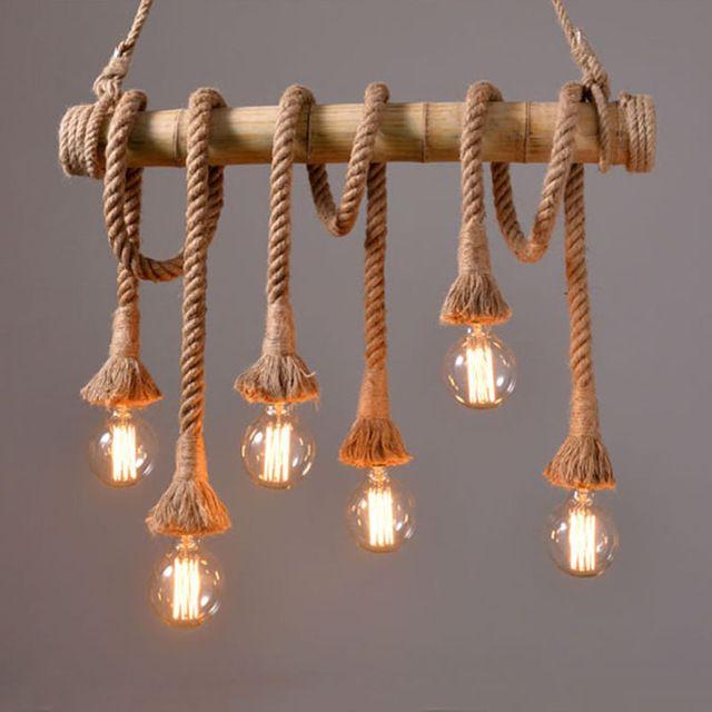 Vintage Bamboe touw Hanglamp Retro Platteland rieten Hanglampen Met 4/6 Verlichting Voor Eetkamer, Woonkamer