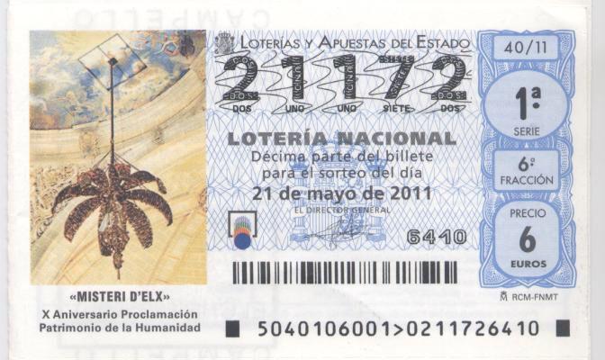 La Mangrana del #MisteridElx en el sorteo de la Lotería Nacional de 21 de mayo de 2011.